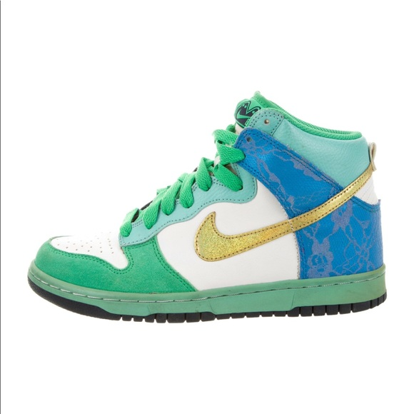 6 Leather Blue White High Green Lace Dunk Nike 0 J1FcKTl